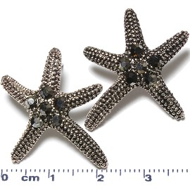 Metallic Earrings Starfish Rhinestone Black Gray Ger626