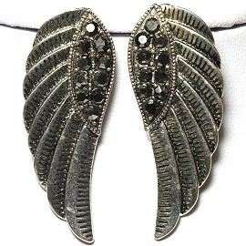 Metallic Earrings Angel Wings Rhinestone Black Gray Ger627