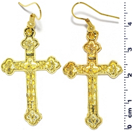Jesus Crucifix Cross Earrings Shiny Gold Tone Metal Alloy Ger636