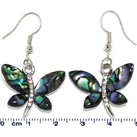 Abalone Earrings Dragonfly Green Blue Ger649