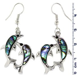 Abalone Earrings Double Dolphin Green Silver Ger650