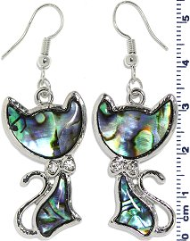 Abalone Earrings Cat Green Blue Ger653