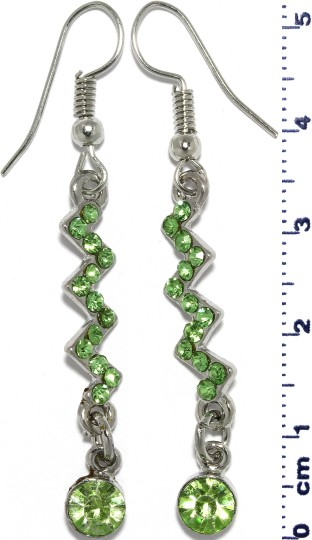 Zigzag Rhinestone Line Dangle Earrings Silver Tone Green Ger654