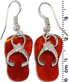 Flip Flops Earth Stone Marble Earring Red Silver Ger658