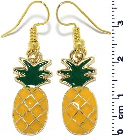 Pineapple Dangle Earrings Yellow Green Gold Tone Alloy Ger664