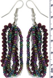 Crystal Bead Earring Aura Teal Purple Ger669