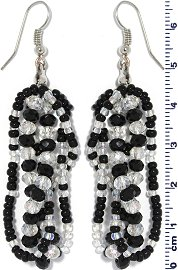 Crystal Bead Earring Clear Black Ger671