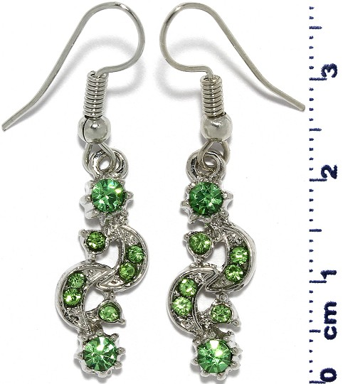 Moon Sun Rhinestone Line Earrings Silver Tone Green Ger676