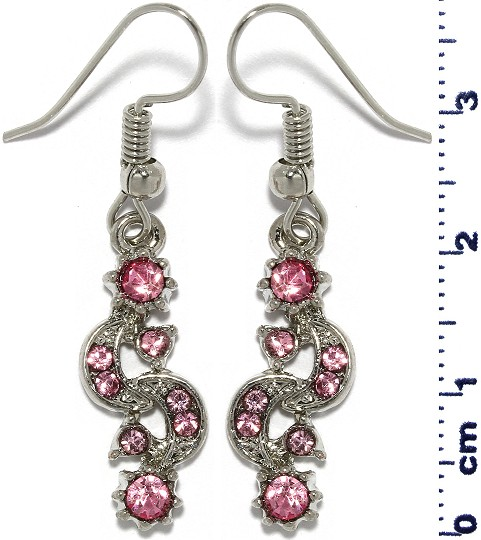 Moon Sun Rhinestone Line Earrings Silver Tone Pink Ger679