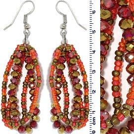 Crystal Bead Earring Gold Orange Ger681
