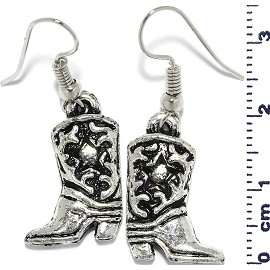 Western Boots Dangle Earrings Black Metallic Silver Tone Ger683