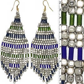 Dangle Earrings Cube Beads Tubes Silver Gold Blue Green Ger687