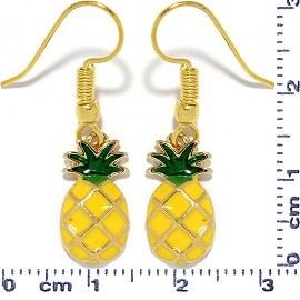 Pineapple Dangle Earrings Yellow Green Gold Tone Alloy Sm Ger690