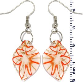 Glass Earrings Leaf White Gold Orange Ger692