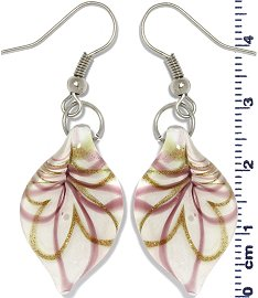 Glass Earrings Leaf White Gold Lavender Ger693