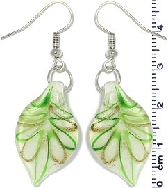 Glass Earrings Leaf White Gold Green Ger695