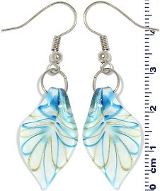 Glass Earrings Leaf White Gold Turquoise Ger696