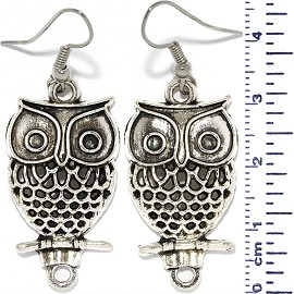Metallic Owl Dangle Earrings Pinhole Branch Black Silver Ger704