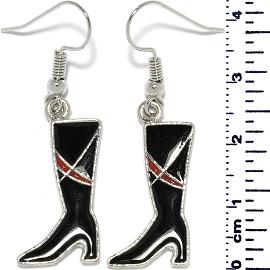 Lady's Boots Dangle Earrings Black Red Silver Tone Alloy Ger705