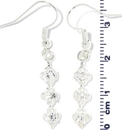 Rhinestone Earrings Line Silver Ger710