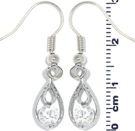 Rhinestone Earrings Tear Gray Ger711