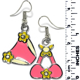 Rhinestone Earrings Ribbon Pink Ger715