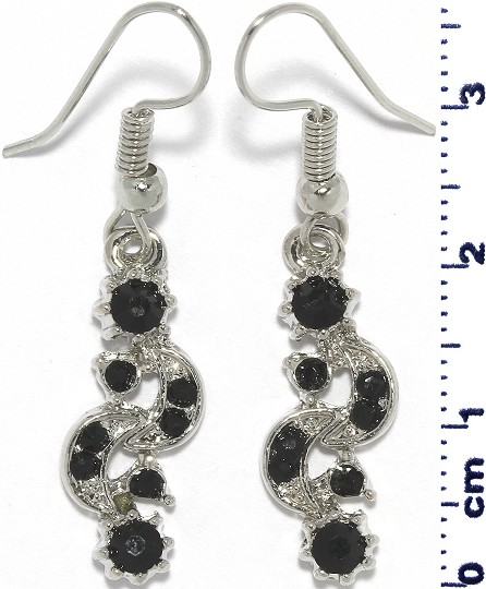 Moon Sun Rhinestone Line Earrings Silver Tone Black Ger720