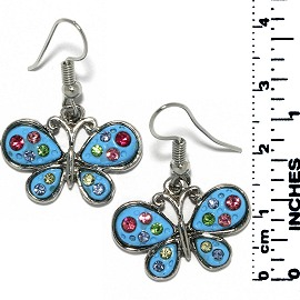Earrings Butterfly Rhinestones Meta Silver Turquoise Tone Ger724