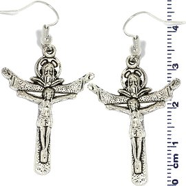 Metallic Earrings Crucifix Religious Silver Ger736