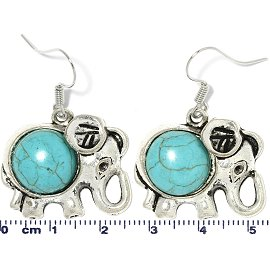 Earth Stone Earrings Elephant Turquoise Silver Ger737