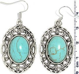 Earth Stone Earrings Oval Turquoise Silver Ger739