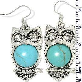 Earth Stone Earrings Owl Turquoise Silver Ger747