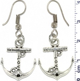 Metallic Earrings Ship Anchor Nautical Silver Tone Alloy Ger756