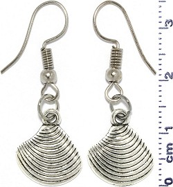 Metallic Earrings Clam Shell Nautical Silver Tone Alloy Ger758