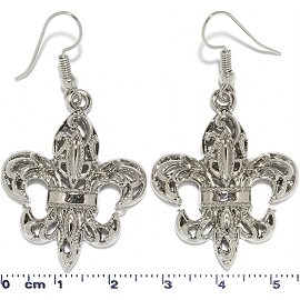 Fleur-de-lis Flower Metallic Earrings Silver Tone Ger761