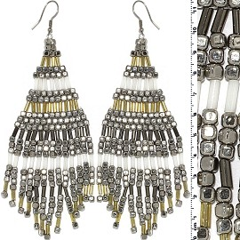 Dangle Earrings Cube Beads Tubes Silver Gold White Frost Ger771