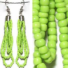 Seed Bead Earrings Lime Apple Green Ger780