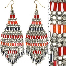 Dangle Earrings Cube Beads Tubes Silver Gold Orange Red Ger785