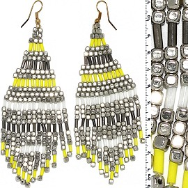 Dangle Earrings Cube Beads Tubes Silver Gold Yellow White Ger790