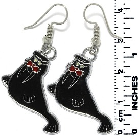 Earrings Walrus Metallic Silver Black Tone Ger793
