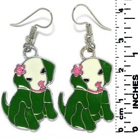 Earrings Puppy Dog Sitting Metallic Silver Green Tone Ger796