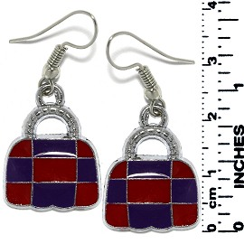 Earrings Lady's Purse Bag Metallic Silver Red Purple Tone Ger798