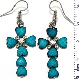 Dangle Earrings Cross Crucifix Heart Bead Stone Turquoise Ger809