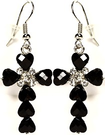 Black Crystal Earrings Silver Black Ger811