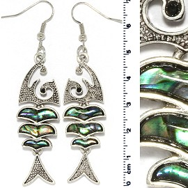 Abalone Earring Bone Fish Green Gray Silver Tone Ger815