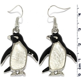 Penguin Mother Of Pearl Shell Earrings Black White Ger816