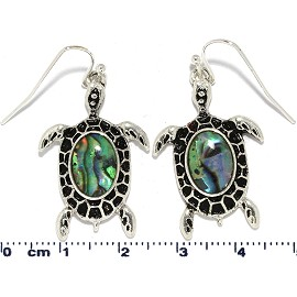 Sea Turtle Abalone Shell Earrings Green Black Silver Tone Ger818