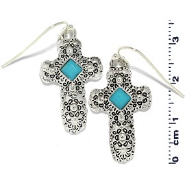 Cross Crucifix Turquoise Stone Bead Earrings Silver Ger820