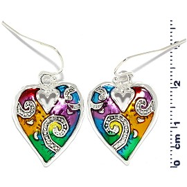 Heart Earrings Multi Colored Yellow Green Purple Red Ger823