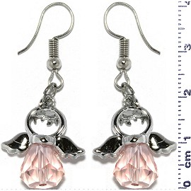 Dangle Earrings Crystal Religious Baby Angel Pink Silver Ger829